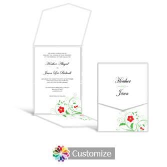 Floral 5.25 x 7.25 Vertical Gate-Fold Wedding Invitation