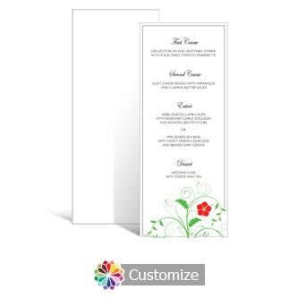 Floral 3.625 x 8.875 Tea-Length Wedding Menu