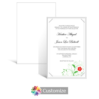 Floral 5 x 7.875 Layered Rectangle w/Vellum Wedding Invitation