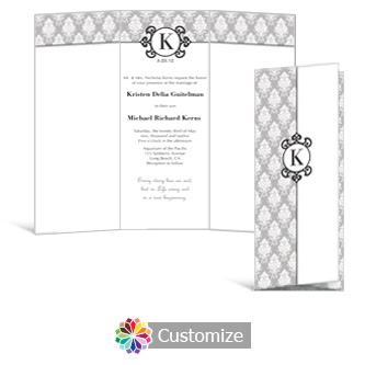 Monogram 3.625 x 8.875 Tri-Fold Wedding Invitation
