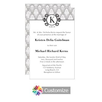 Monogram 5 x 7.875 Flat Card Wedding Invitation