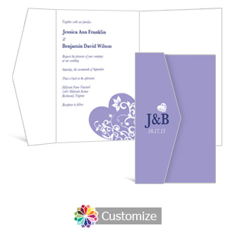 Hearts 5 x 7.875 Double Folded Wedding Invitation