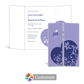 Hearts 5 x 7 Gate-Fold Wedding Invitation