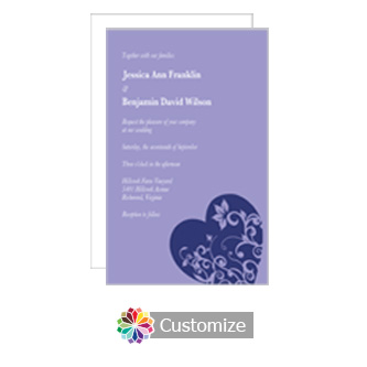 Hearts 5 x 7.875 Flat Wedding Invitation Card