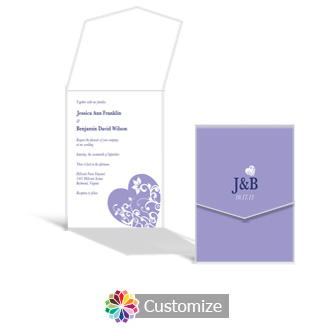 Hearts 5.25 x 7.25 Vertical Gate-Fold Wedding Invitation