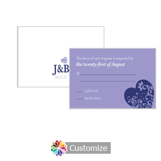 Hearts 5 x 3.5 RSVP Enclosure Card - Reception
