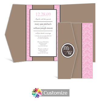 Rococo 5 x 7.875 Double Folded Wedding Invitation