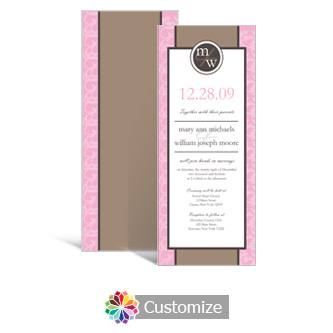 Rococo 3.625 x 8.875 Tea-Length Wedding Invitation