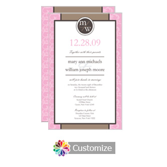 Rococo 5 x 7.875 Flat Card Wedding Invitation