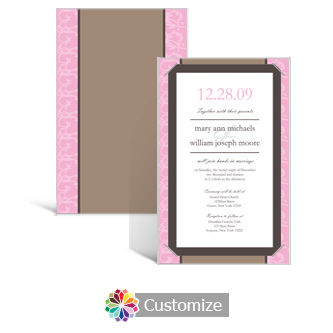 Rococo 5 x 7.875 Layered Rectangle w/Vellum Wedding Invitation