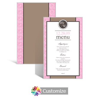 Rococo 5 x 7.875 Rectangle Flat Wedding Menu