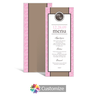 Rococo 3.625 x 8.875 Tea-Length Wedding Menu