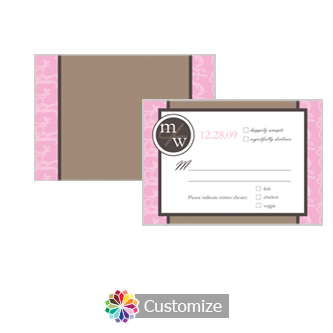 Rococo 5 x 3.5 RSVP Enclosure Card - Dinner Choice