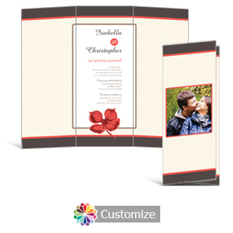 Polka 3.625 x 8.875 Tri-Fold Wedding Invitation