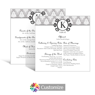 Monogram 5.875 x 5.875 Square Wedding Program