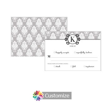 Monogram 5 x 3.5 RSVP Enclosure Card - Dinner Choice