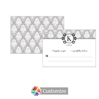 Monogram 5 x 3.5 RSVP Enclosure Card - Reception