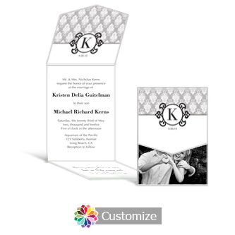 Monogram 5.25 x 7.25 Vertical Gate-Fold Wedding Invitation