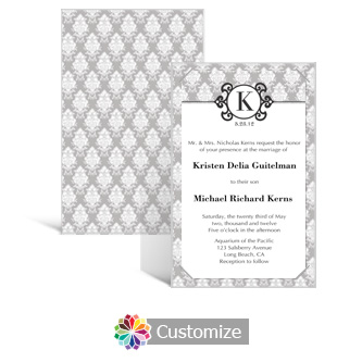 Monogram 5 x 7.875 Layered Rectangle w/Vellum Wedding Invitation