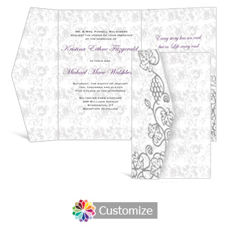 Iron Vine 5 x 7.875 Double Folded Wedding Invitation