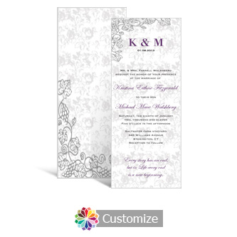 Iron Vine 3.625 x 8.875 Tea-Length Wedding Invitation