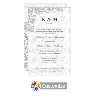 Iron Vine 5 x 7.875 Flat Card Wedding Invitation