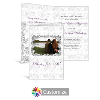 Iron Vine 5 x 7.875 Half-Fold Wedding Invitation