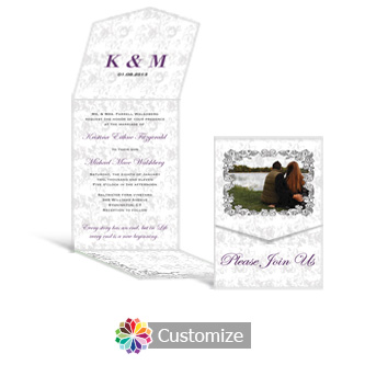 Iron Vine 5.25 x 7.25 Vertical Gate-Fold Wedding Invitation