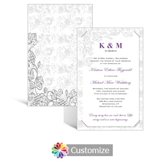 Iron Vine 5 x 7.875 Layered Rectangle w/Vellum Wedding Invitation