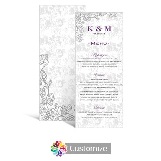 Iron Vine 3.625 x 8.875 Tea-Length Wedding Menu