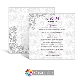 Iron Vine 5.875 x 5.875 Square Wedding Menu