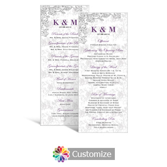 Iron Vine 3.625 x 8.875 Tea-Length Wedding Program