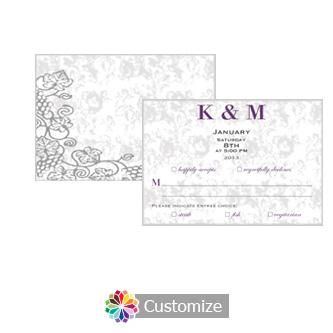 Iron Vine 5 x 3.5 RSVP Enclosure Card - Dinner Choice