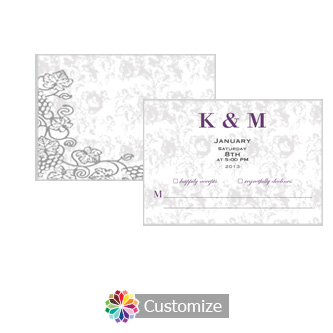 Iron Vine 5 x 3.5 RSVP Enclosure Card - Reception