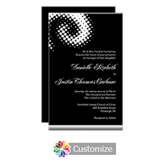 Matrix Swirl 5 x 7.875 Flat Card Wedding Invitation