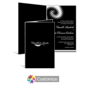 Matrix Swirl 5 x 7.875 Half-Fold Wedding Invitation