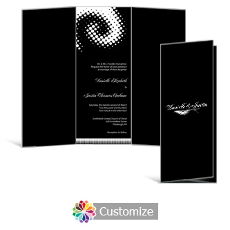 Matrix Swirl 3.625 x 8.875 Tri-Fold Wedding Invitation