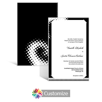 Matrix Swirl 5 x 7.875 Layered Rectangle w/Vellum Wedding Invitation