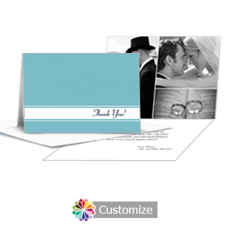 Classical Wedding Thank You Card With Photo and Custom Greeting