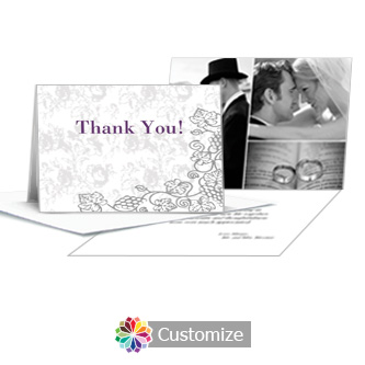 Iron Vine Wedding Thank You Card With Photo and Custom Greeting