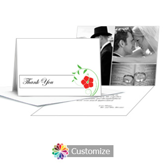 Floral Wedding Thank You Card With Photo and Custom Greeting