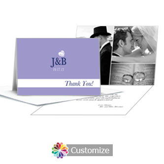 Hearts Wedding Thank You Card With Photo and Custom Greeting