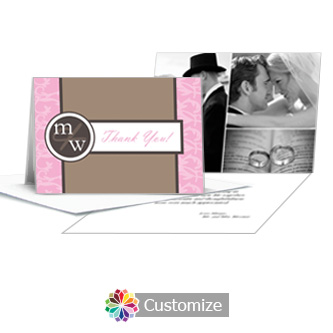 Rococo Thank You Card With Photo and Custom Greeting