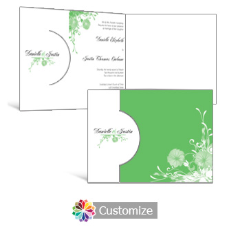 Floral Vines 7.25 x 5.125 Folded Wedding Invitation