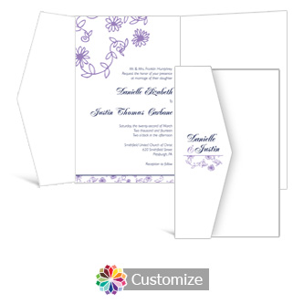 Lilac Flowers 5 x 7.875 Double Folded Wedding Invitation