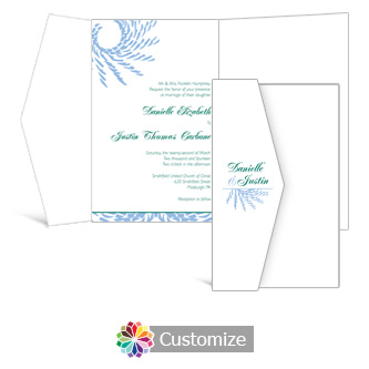Spiral Wave 5 x 7.875 Double Folded Wedding Invitation