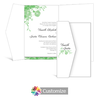 Floral Vines 5 x 7.875 Double Folded Wedding Invitation