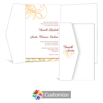 Ornate 5 x 7.875 Double Folded Wedding Invitation