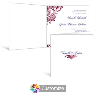 Checkered Orbs 6 x 6 Square Folded Wedding Invitation