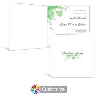 Floral Vines 6 x 6 Square Folded Wedding Invitation